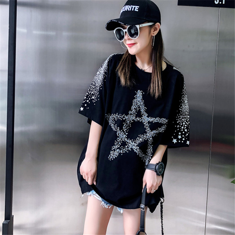 Loose Fashion Five-Pointed Star Dark Printing Short-Sleeved T-Shirt Female 2019 Summer New Round Neck T-Shirt Top H0056 5