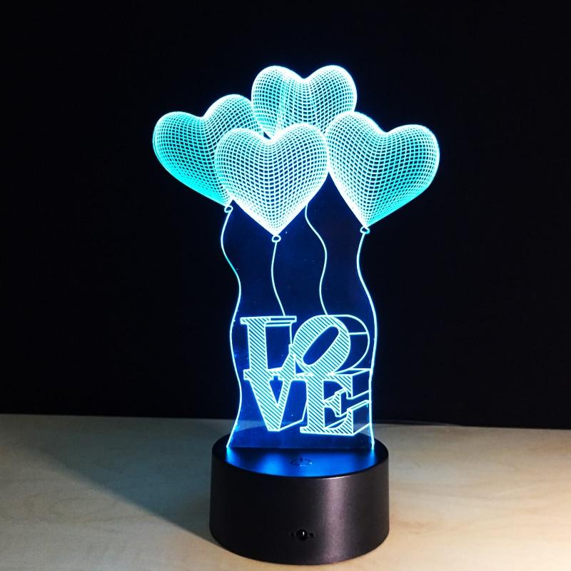 Красочная настольная лампа Любовь Сердце шар романтический подарок для свадьбы жена любителей Валентина 3D touch детские ночь настольная ламп... ...