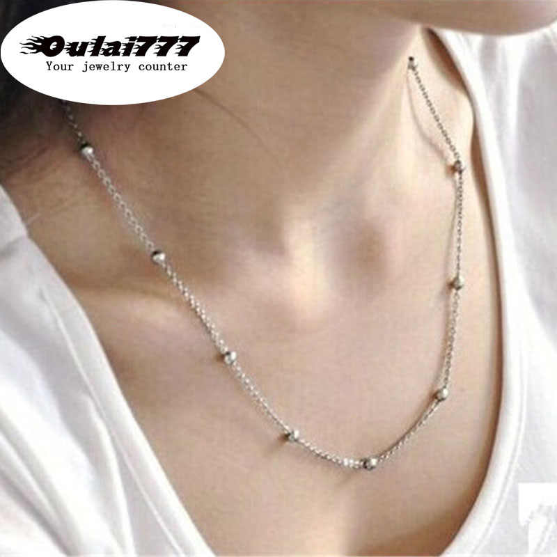 wholesale 2019 stainless steel bead gold chain choker necklace gifts for women girl female necklaces bohemian fashion jewelry