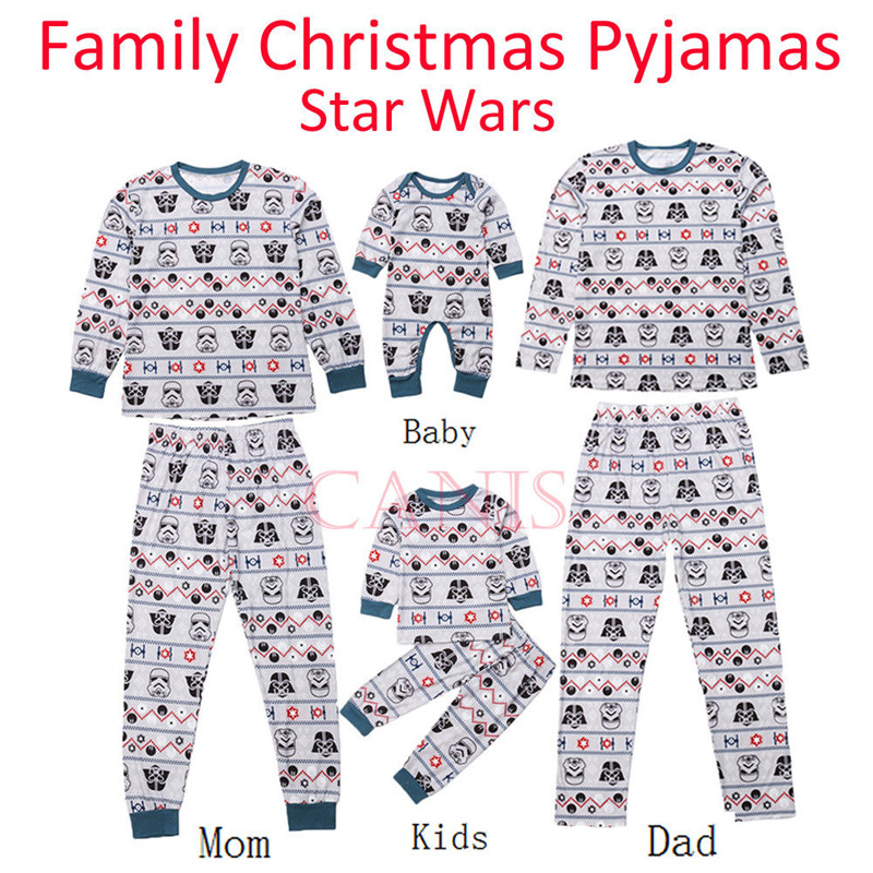CANIS Xmas Christmas Family Matching Star Wars PJS Pyjamas Pj's Xmas Sleepwear Nightwear Adult Baby Boy Girl Romper Clothes Set цена