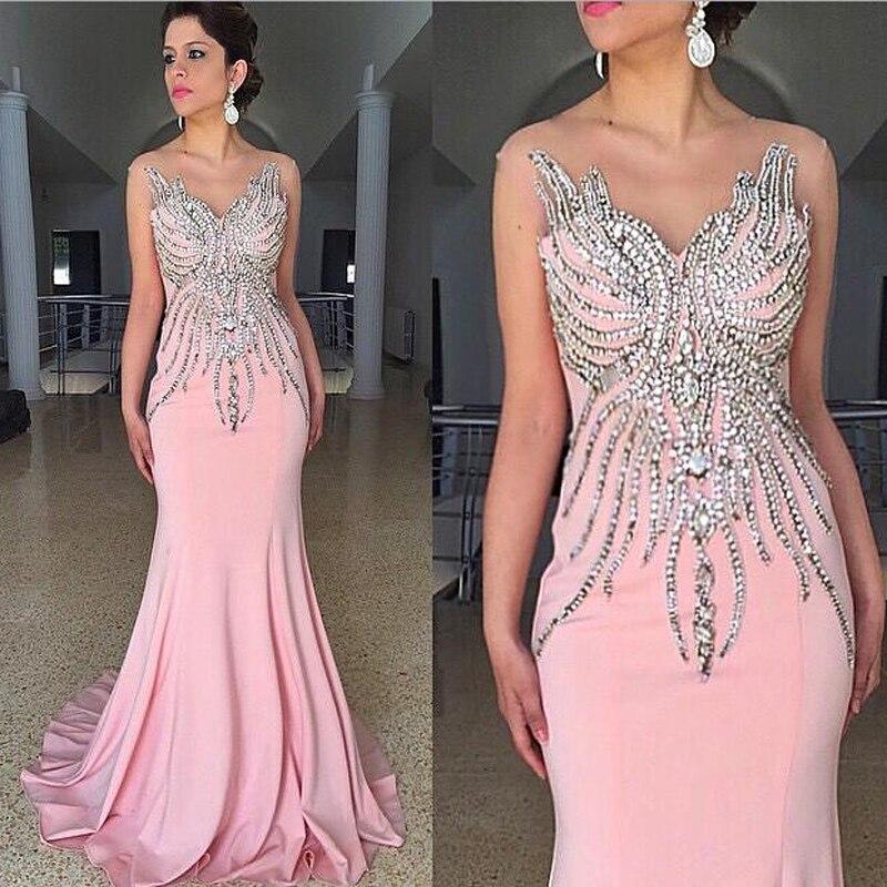 2016 Luxury Beaded Pink Mermaid Evening Dresses V-neck Sleeveless Long Chic Prom Gowns Elegant Formal Dresses Robe De Soiree Evident Effect