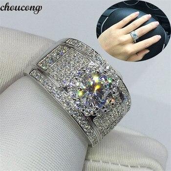 08cba2e67ebe Choucong de lujo de boda diamante anillo anillos boda banda de la plata  esterlina 925 5mm AAAAA Sona piedra cz anillos de compromiso para los  hombres y las ...