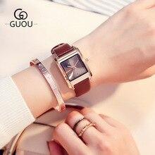 GUOU New Square dial Fashion Quartz Watch Women famous brand simple Wild Ladies Dress watches Genuine Leather Wristwatches 2017