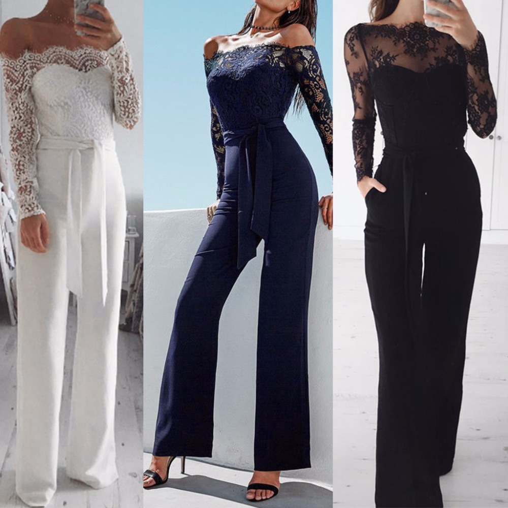 Women   Jumpsuit   Elegant Off shoulder Lace Rompers   Jumpsuit   Sexy Long Trousers Overalls   Jumpsuits