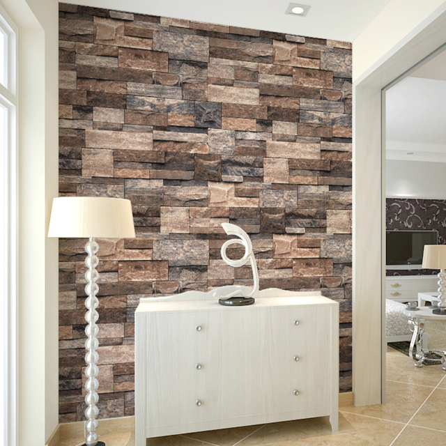 HaokHome Vintage Faux Stone 3D Wallpaper Rolls Brown Grey Brick