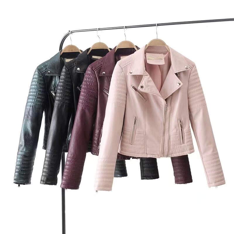 2018 Spring and Autumn New Thin Lapel Zipper Motorcycle Pu   Leather   Jacket Women, Street Casual PU   Leather   Clothing Girl