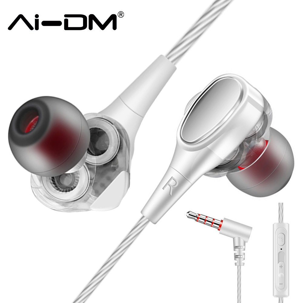 ADMI Headphones Dual Drivers Dynamic Wired Music Headset With Mic Bass Sports In-Ear Earphones Noise Earbuds Auricolari Ecouteur coconut cowboy