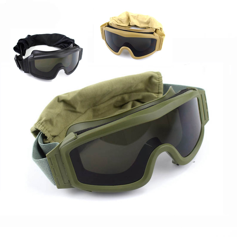 Black Tan Green Tactical Goggles Military Shooting Sunglasses 3 Lens Army Airsoft Paintball Motorcycle Windproof Wargame Glasses