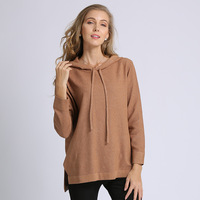 Long Sleeve Hooded knitted Sweater Solid Color Female Loose Pullover 2018 Autumn and Winter New Pattern