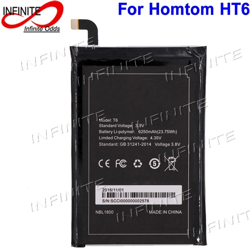 imágenes para Para homtom ht6 batería 6250 mah nueva batería acumulador akku para homtom ht6 y doogee t6
