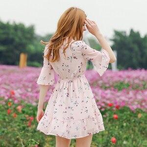 Image 2 - Kadın yaz elbisesi baskılı şifon kadın elbiseler 2020 Boho tatlı kadın Ruffles elbise kısa kollu çiçek elbise plaj Vestidos