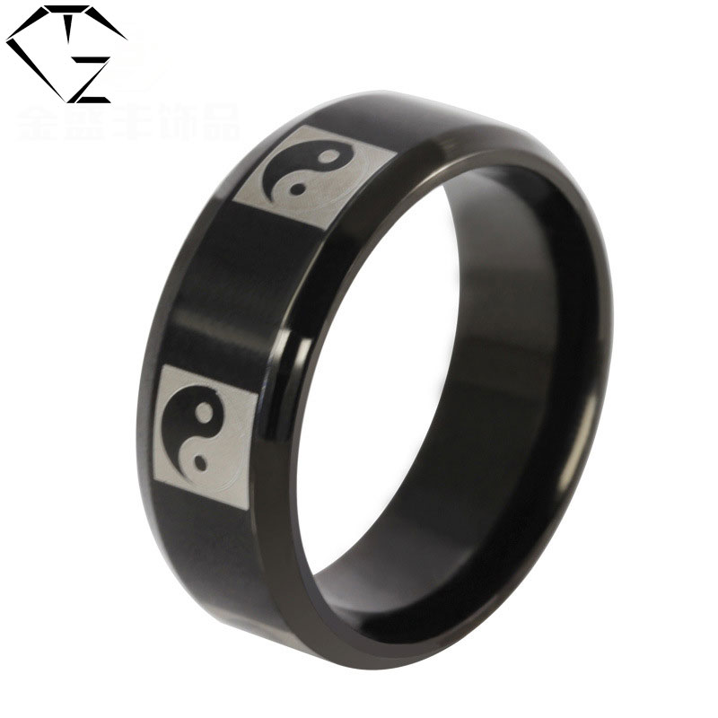 316L Stainless Steel Ring Trendy New Fashion Yin and yang gossip Wedding Rings for Women Men Jewelry USA Size 6 to 14
