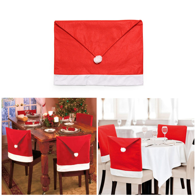 1pc Cap Chair Cover Christmas Dinner Table Party Red Hat Back Covers Xmas