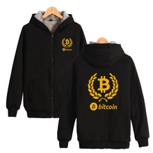 Bitcoin Sweatshirt Men Zipper Winter Thick Fashion Hoodies Men Sweatshirt Casual Streetwear Virtual Currency Clothe