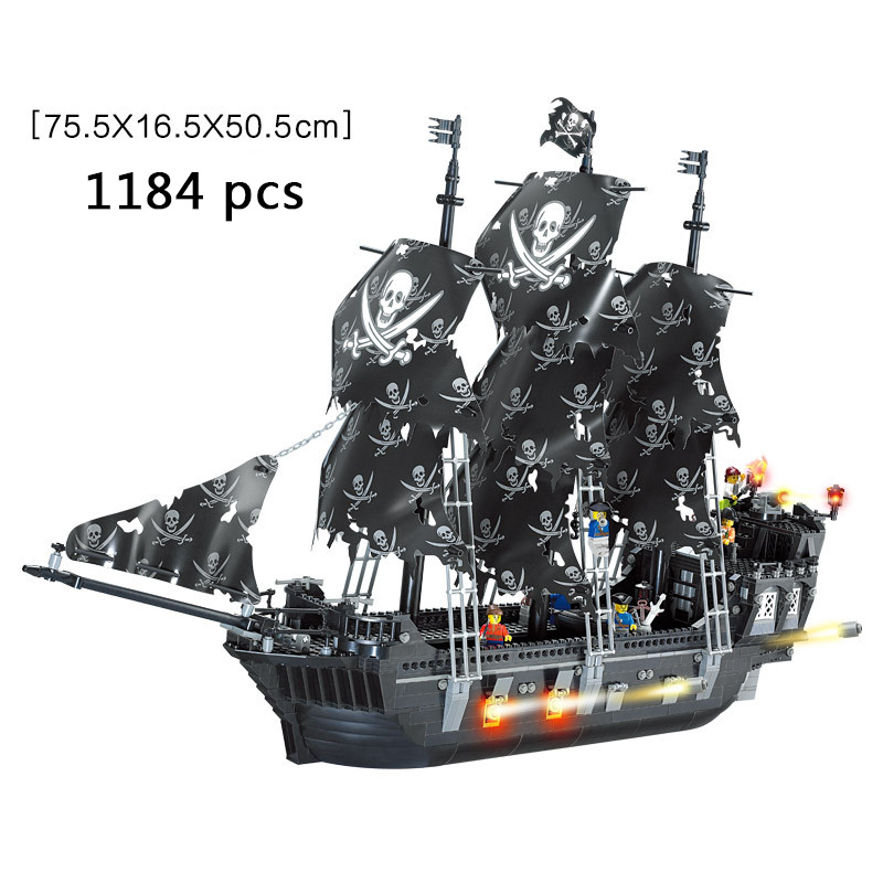 Upgraded RS The Black Pearl Ship Model Sets Pirates Castle Figures Caribbean Building Blocks Children Toys Brick Legoing Gift