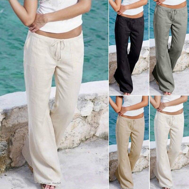 2017 New Brand Fashion Women Loose Stretch High Waist Wide Leg Long Pants Palazzo Trousers Solid Pants Plus Size Pants