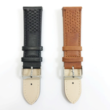 20mm 22mm Watch Band Genuine Leather Watch Strap Weaving Black Brown Replacement Bracelet Handmade Watchbands Sliver Buckle #A все цены