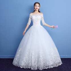 Новинка 2019 года классический половина рукав средней длины кружево свадебное платье с открытыми плечами Аппликации Индивидуальные Vestido De