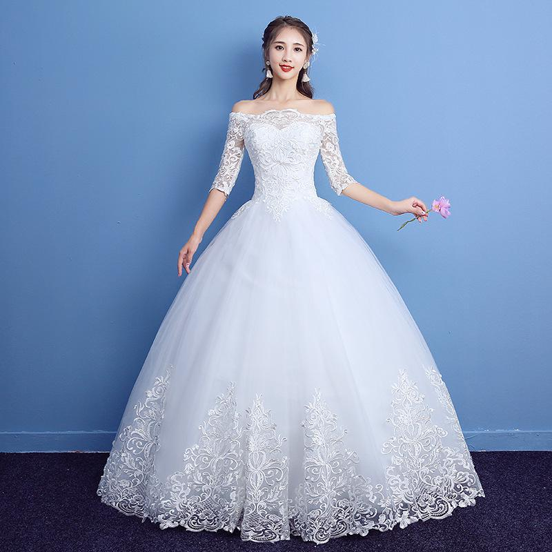 2019 New Classic Half Sleeve Boat Neck Lace Wedding Dress Off The Shoulder Appliques Customized Bridal Dress Vestido De Noiva L