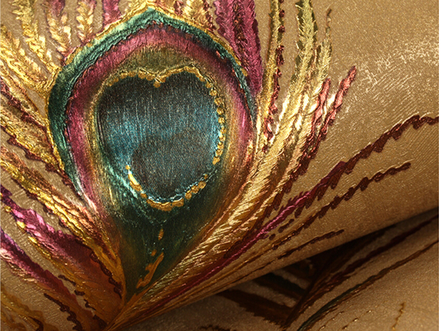 Modern Golden Peacock Feather Living Room Wallpaper High Quality
