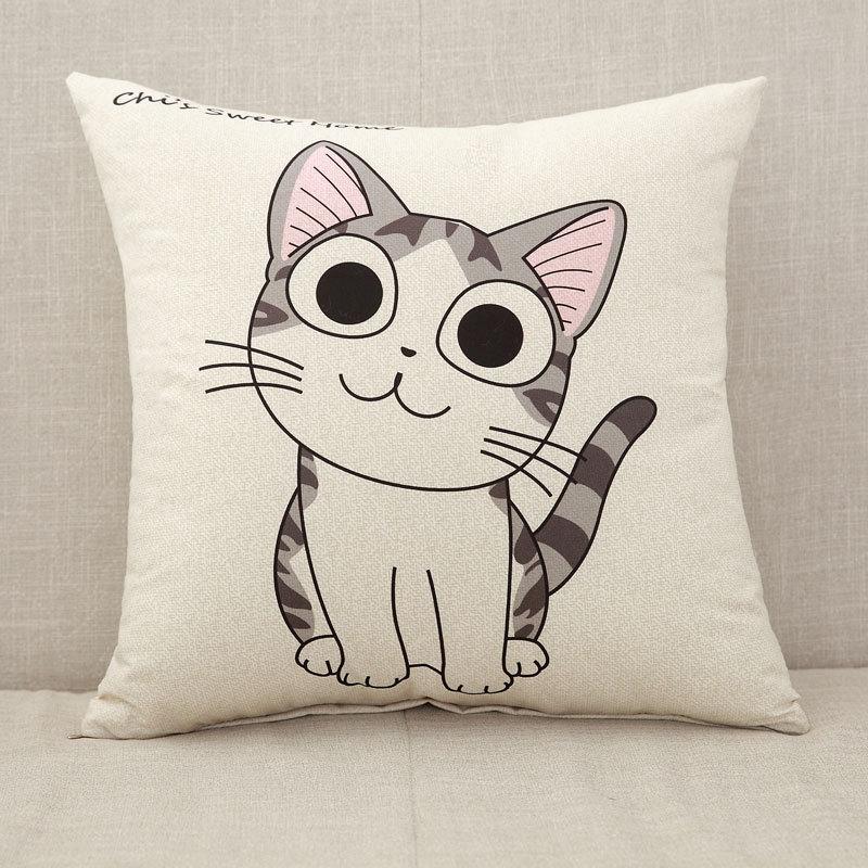 Милый мультяшный Чехол на подушку, слон, кошка, декоративный Чехол на подушку, с рисунком жирафа, Чехол на подушку для дивана, funda cojin kussenhoes - Цвет: 1