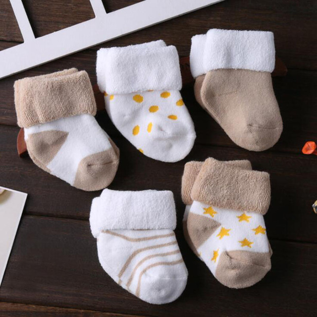 5 Pair/lot new cotton thick baby toddler socks autumn and winter warm baby foot sock 3