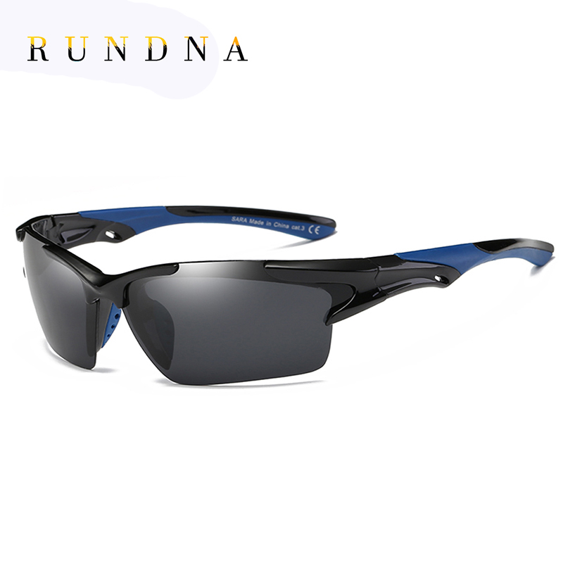 RUNDNA Black Polarized Cycling SunGlasses Riding Bicycle Bike Goggles Golf Fishing Coating Mirrored Outdoor Sports Sunglasses