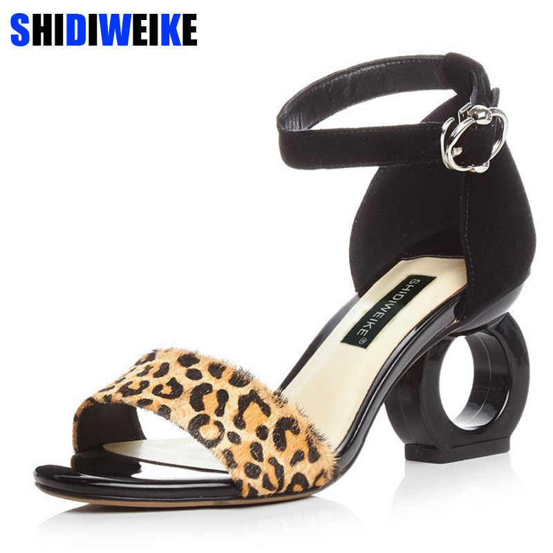 Leopard Sheepskin Fashion Brands Sandals Horse Hair Strange Style Buckle Strap Party Pumps Yellow Sexy Ankle Strap Woman Shoes