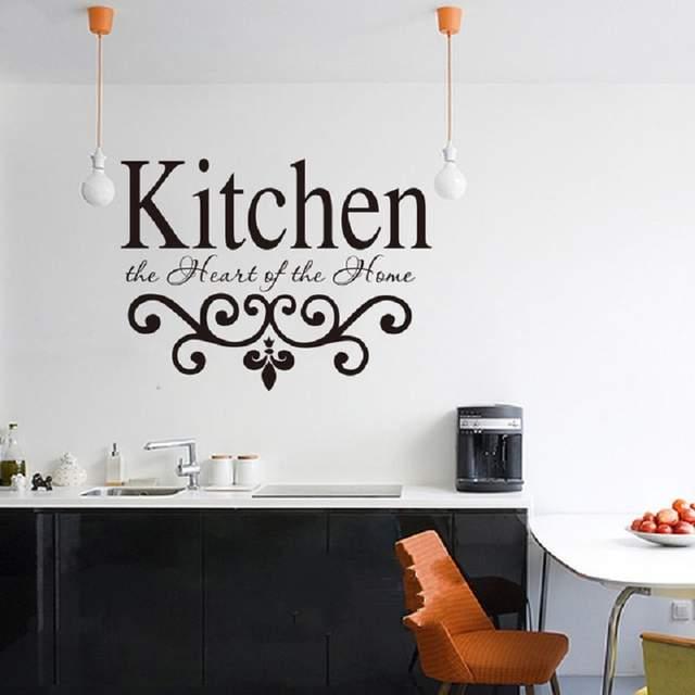 176d390ae Online Shop Wall Sticker Quotes Kitchen The Hearts Of the Home delicate  Flower design Kitchen Wall Decal Vinyl Home Decoration Art Mural