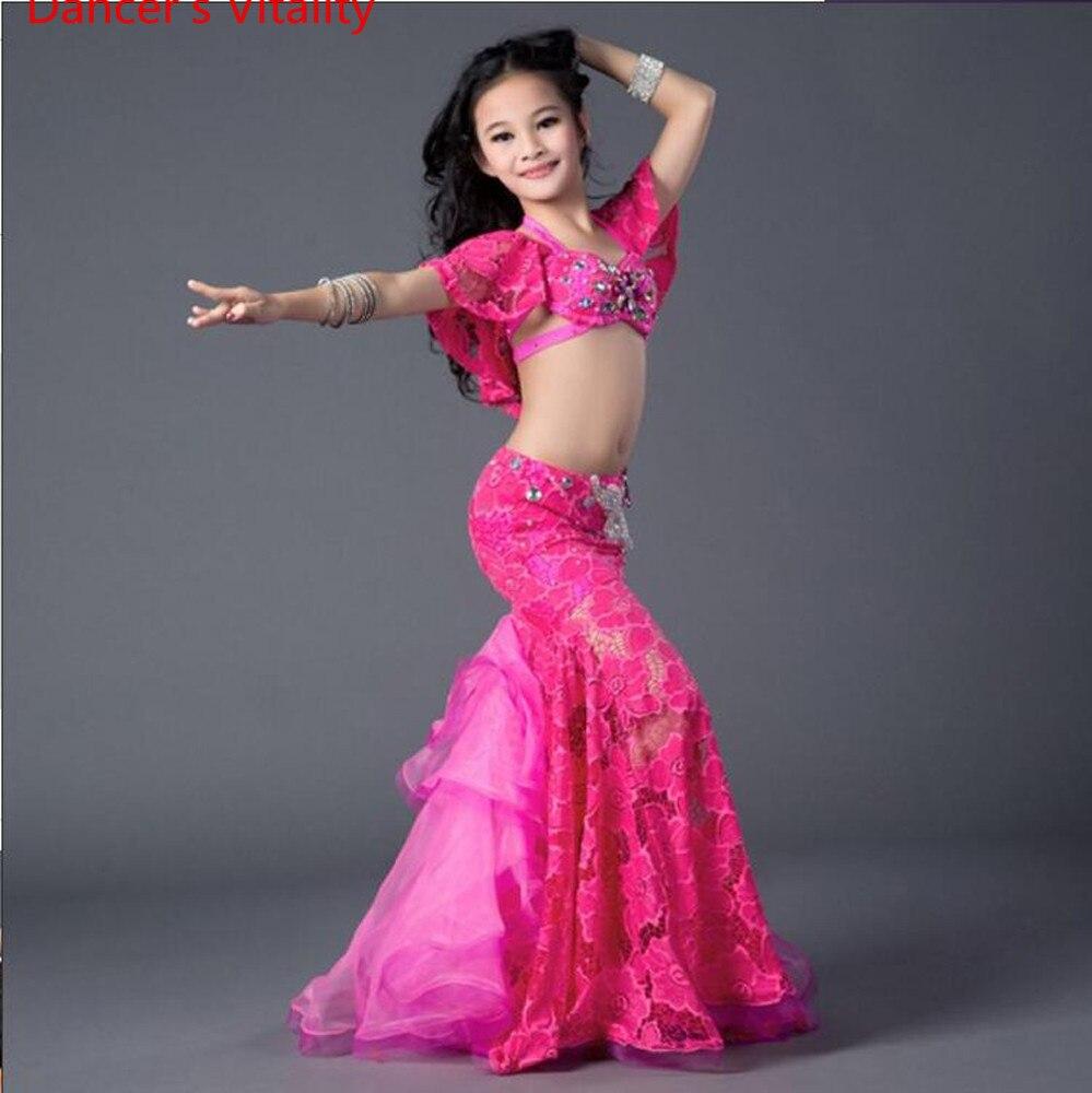 Enfants danse du ventre Costumes enfants filles luxe diamant soutien-gorge + jupe 2 pièces ensemble pour enfants danse du ventre Costumes compétition porte
