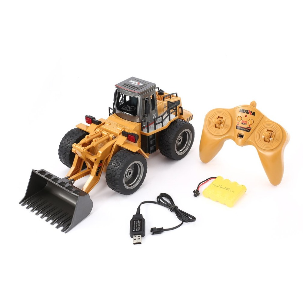 HUINA 1520 6CH 1/18 2.4GHz RC Metal Bulldozer RTR Front Loader Engineering Toy Remote Control Construction Tractork Vehicle