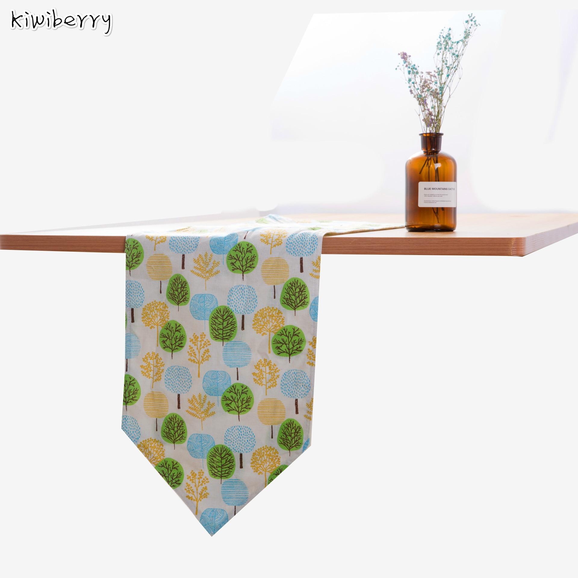 Table Runner Modern Tree Pattern Chirstmas Party Wedding Decor Crafts Linen Cotton Satin Chemin De Mariage