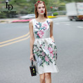 New Fashion 2017 Summer Dress Women's elegant Sleeveless Flower Floral Print Appliques Beading Casual Vest Dress vestido