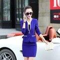 Novo 2016 Queda Mulheres Formais Saia Ternos Venda Quente OL Elegante estilo Uniforme Desgaste do Trabalho Feminino Terno Blazer com Saia e Casaco conjuntos