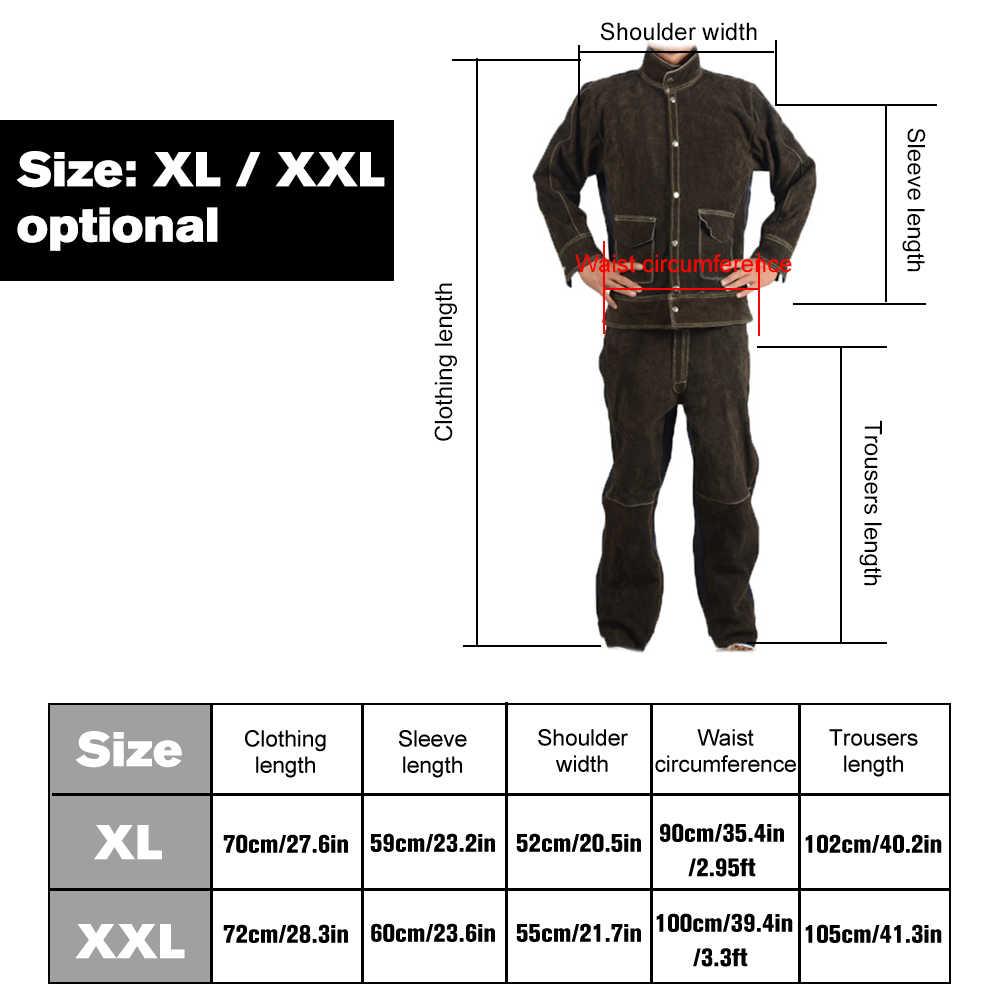 Cowhide+Jean Welding Suits Heat Resistant Heavy Duty Welding Suit Wear-resistant Anti-scald Flame Resistant Working Clothing