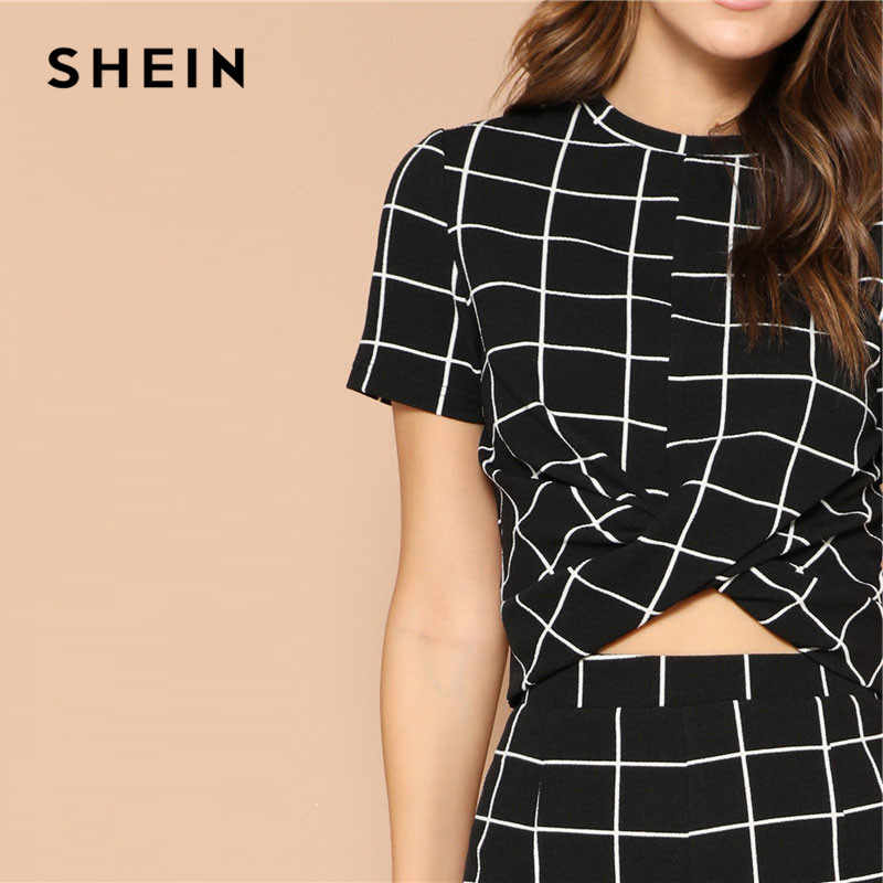 cf320704bb ... SHEIN Twist Front Grid Crop Top And Skinny Pants Matching Set Women  Clothing Spring Elegant Short ...