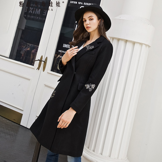 original 2018 brand manteau femme hiver animal fashion elegant handsome long slim winter black bee woolen coat women wholesale