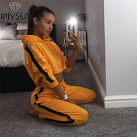 IMYSEN Autumn Winter Tracksuit Women Two Piece Set Yellow Black Red Hooded Long Sleeve Crop Top