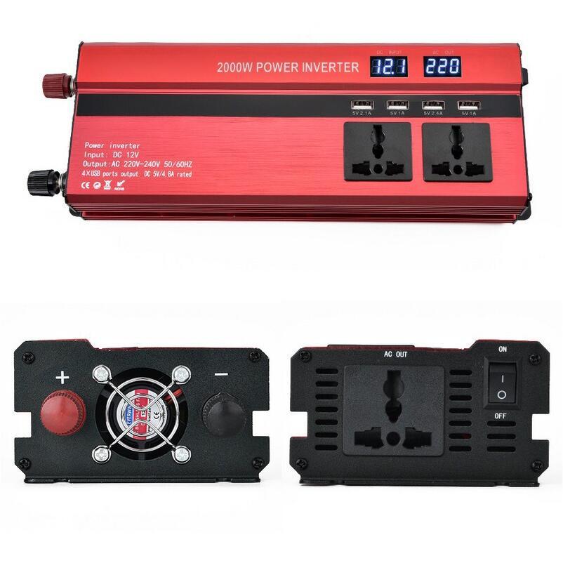 Peak Power 2000W Car Inverter Modified Sine Wave DC12V 24V To AC 220V Inverter Converter With
