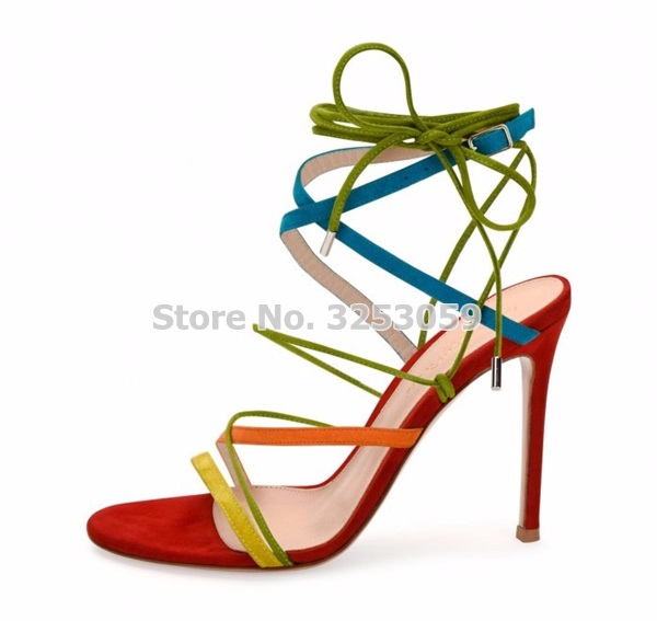 Young Girl's Multi-color Thin Strappy Sandals Stiletto Heels Lace-up Cross Strappy Dress Pumps Colorful Tied Party Shoes strappy dress with lace up detail