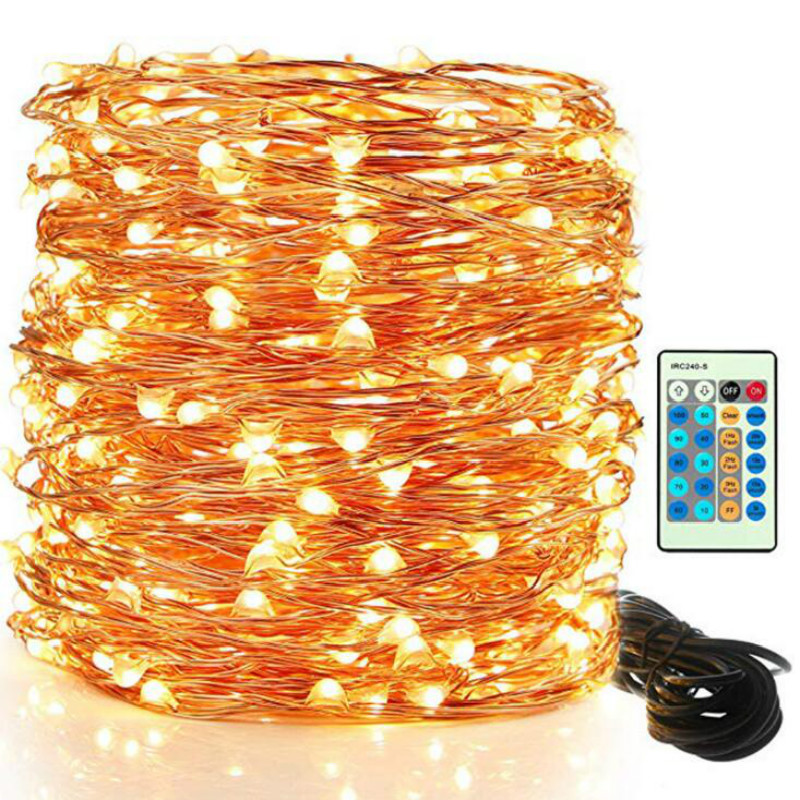Copper Wire LED String Lights 50m 100m Outdoor Holiday Lighting for Christmas Party Decoration With Power Adapter Remote Control