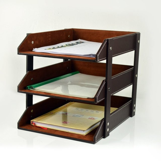 Leather Three File Frame Data Desktop Tray 4 Paper Storage Rack Business Office Products
