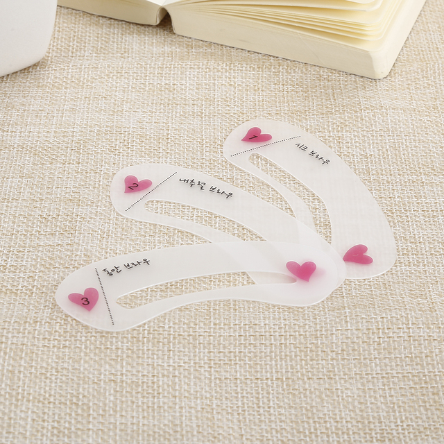 Hot Sale 3 Styles Eyebrow Drawing Gguide Card Eyebrow Template DIY Make Up Tools 5