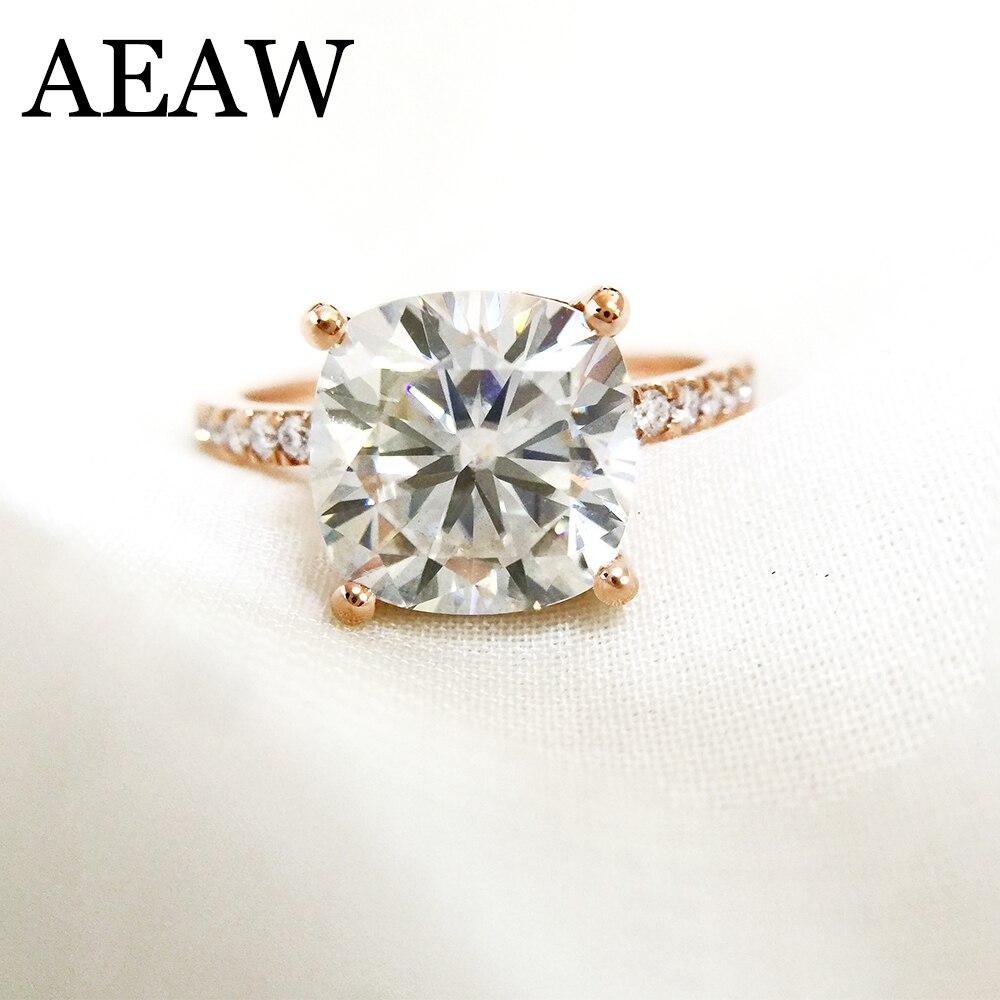 3.5 Carat ct Coussin Cut Engagement et De Mariage Moissanite Diamant Anneau Double Halo Anneau Véritable 14 k 585 Or Rose