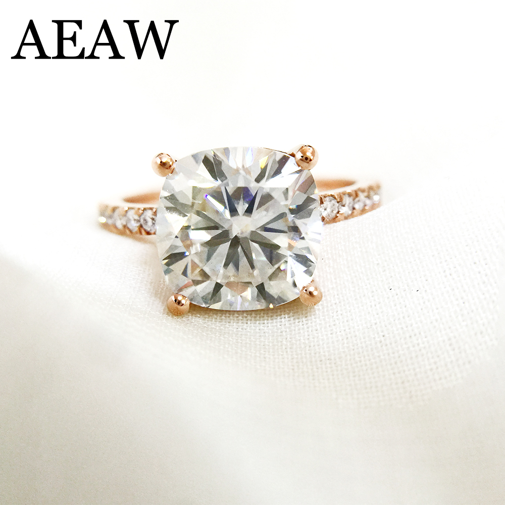 3,5 Carat ct amortiguador de corte de compromiso y boda anillo de diamante doble Halo anillo genuino 14 K 585 de oro rosa