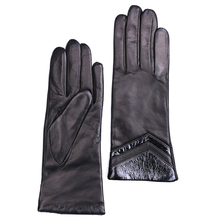 women elegant mid length real Italy leather with patent cuff classic gloves in black