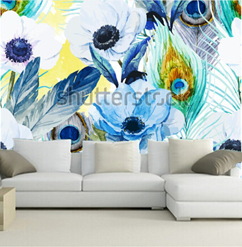 The Custom Murals Flowers Anemones Lilac Boho Pattern Wallpaper Living Room Sofa Tv Wall Bedroom Paper In Wallpapers From Home Improvement On