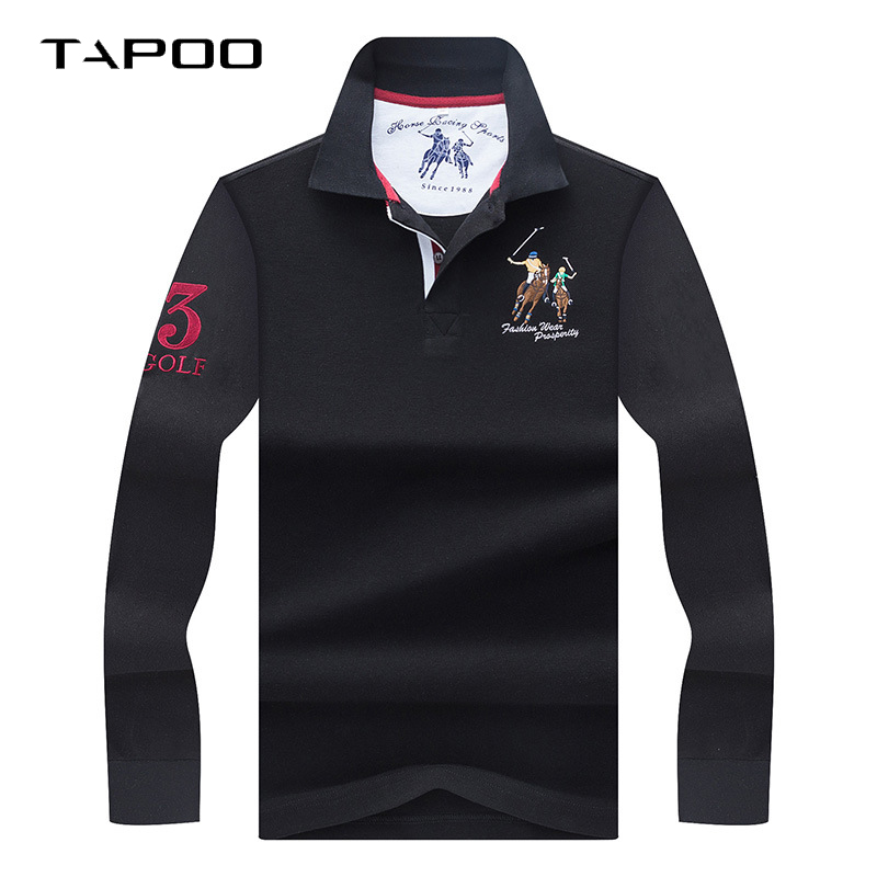 2019 Winter High Quality men s Long sleeve polo shirt Men Polos Solid color 3D Embroidery