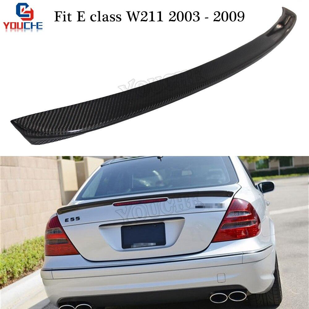 AMG style carbon fiber rear spoiler for Mercedes Benz E class W211 2003-2009