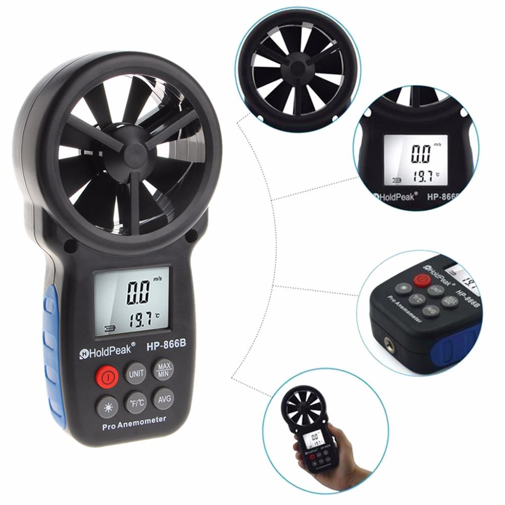 Digital Anemometer Handheld Wind Speed Meter with LCD Backlight and Max/Min D28